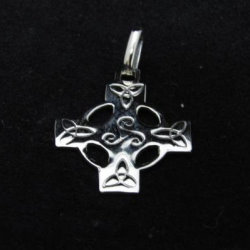 Small Celtic Cross with Triskelion and Triquetra