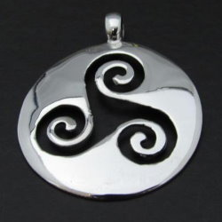 Triskele and Circle Silver Necklace