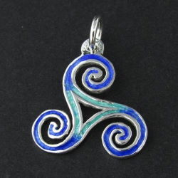 Atlantic Blue Triskele Silver Necklace