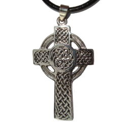 Celtic Cross knotwork silver necklace