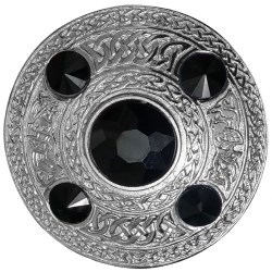 Breton / Cornish Black Stone Celtic Brooch