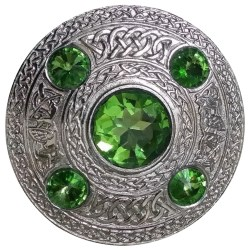 Irish Emerald Stone Celtic Brooch