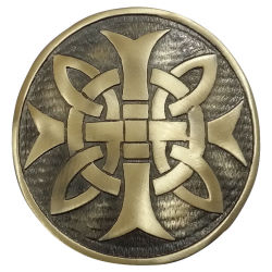 Celtic Cross Plaid Brooch Brass