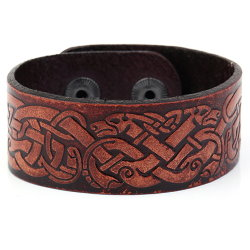 Celtic Dragons Leather Bracelet