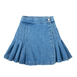 Women's Stonewashed Denim Kilt Skirt