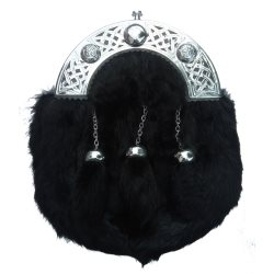 Black Rabbit Fur Sporran with Knotwork Cantle