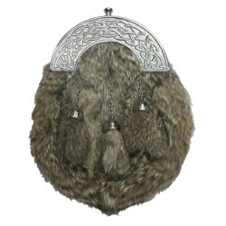 Grey Fur Sporran with Knotwork Cantle