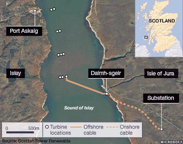 The world's largest tidal stream energy array will be built in the Sound of Islay on Scotland's west coast.