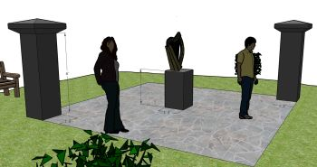 The Ireland Canada Monument: proposed design submitted to Vancouver Parks Board. Artwork will be added to columns in the near future.