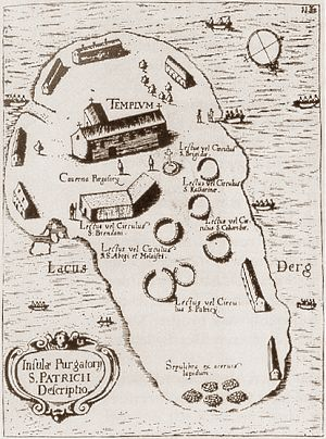 Thomas Carve's 1666 map of Station Island, Lough Derg