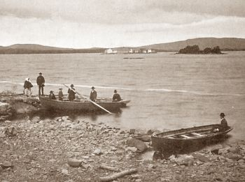 Pilgrims at Lough Derg, County Donegal, Ireland, end of 19th century.