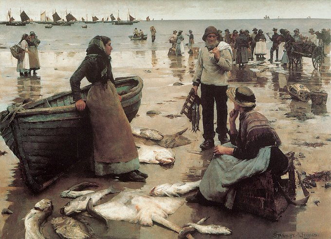Stanhope Forbes' Fish Sale on a Cornish Beach (1882-83)