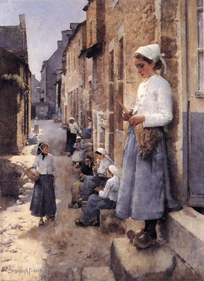 Stanhope Forbes' A Street in Brittany (1881)