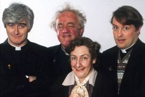 From left to right: Dermot Morgan (Father Ted), Frank Kelly (Father Jack), Pauline McLynn (Mrs Doyle), and Ardal O'Hanlon (Dougal)