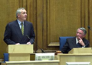 After an introduction to the other main Party leaders, Mr Ahern was given an enthusiastic welcome by MSPs, guests and a packed public gallery when he entered the Assembly Hall Chamber to address Parliamentarians - Photograph © 2005 Scottish Parliamentary Corporate Body