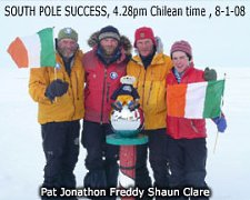 Irish adventurers Pat Falvey, Clare O'Leary, Shaun Menzies, Jonathon Bradshaw, and mascot Freddy the Teddy Bear