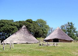 The Chieftain's Roundhouse was reconstructed over an Iron Age house platform with an internal diameter of thirteen metres.